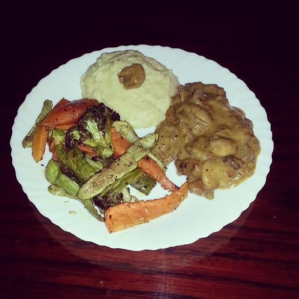 One of my Dinner Meat Picatta, Mashed Potato, roasted Veg